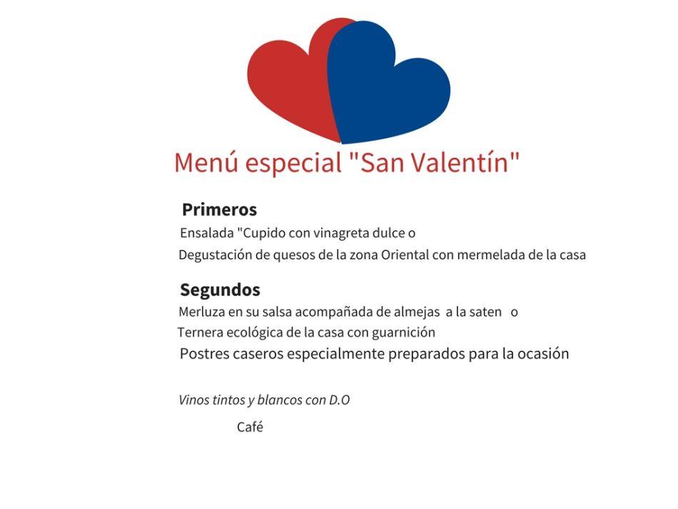 Menu de san valentin en Llanes . hotel Puerta del Oriente