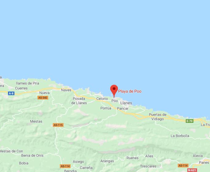 Playa de Poo de Llanes- localizacion