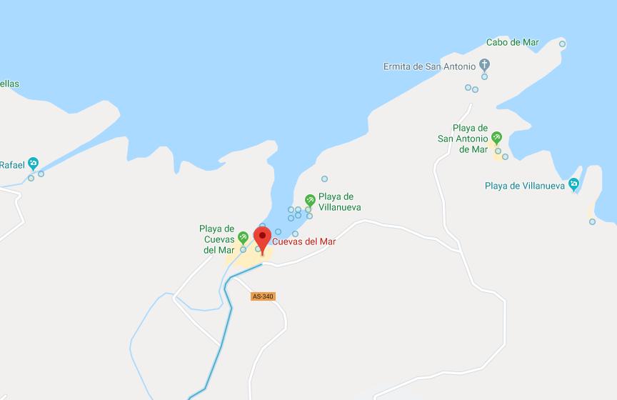 Playa de cuevas del mar en Llanes- localizacion